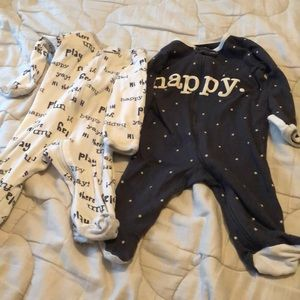 2 pajama onesies with footies (0-3 months)